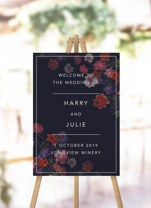 Dark Modern Floral Wedding Welcome Sign
