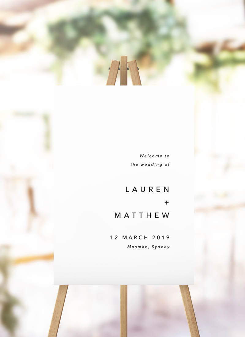 Simple Clean Modern Wedding Welcome Sign