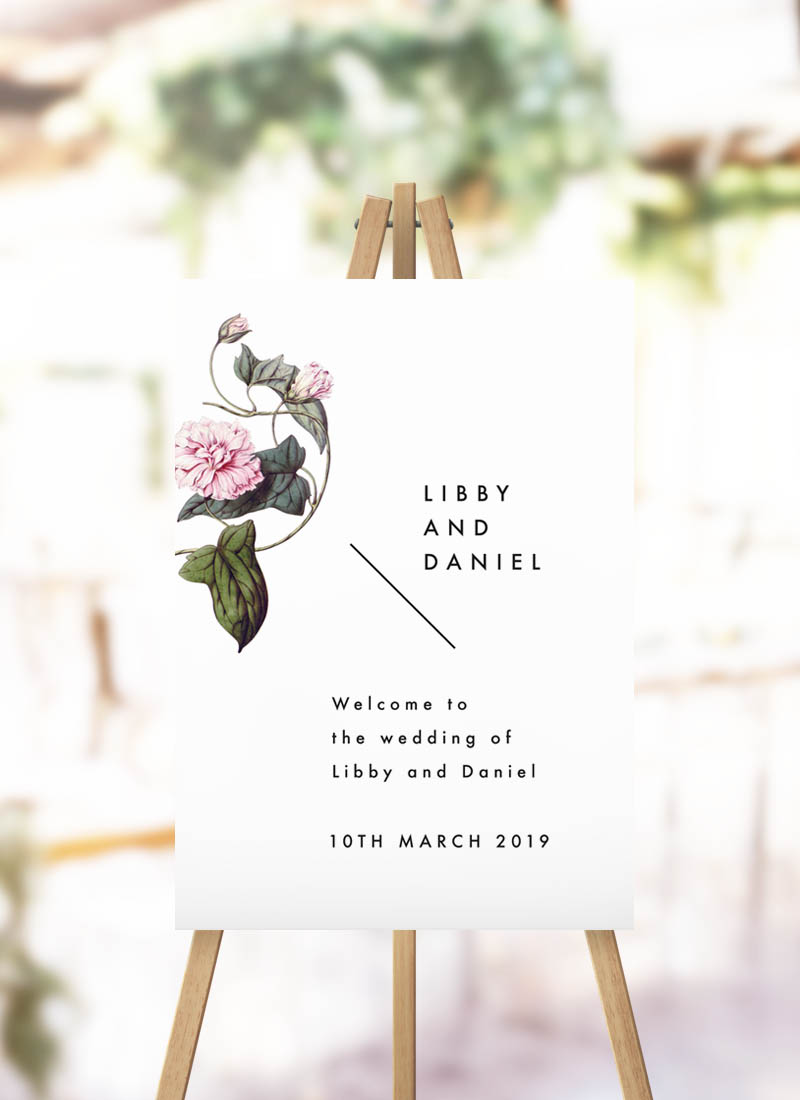 Lush Flower Botanical Vine Welcome Sign