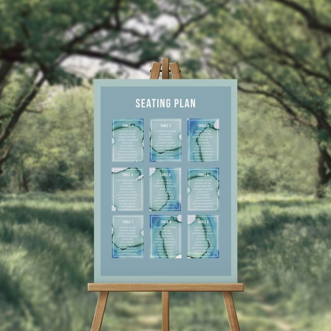 Blue Green Watercolour Wash Beach Seating Chart Australia Sydney Perth Adelaide brisbane Melbourne Abstract watercolour wash green turquoise blue hues wedding seating sign