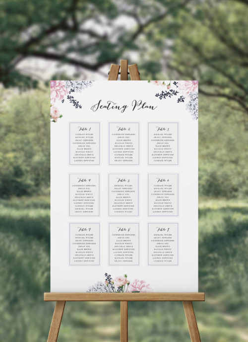 Elegant Floral Seating Plan Sydney Perth Melbourne Adelaide Canberra Blooms Lush Flowers Dahlias berries Pink Navy Pastel Pale Flowers