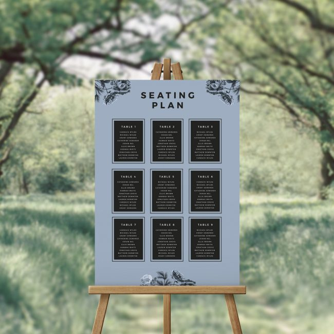 Modern Blue Black Floral Seating Chart Australia Adelaide Sydney Melbourne Perth brisbane Canberra Seating Plan
