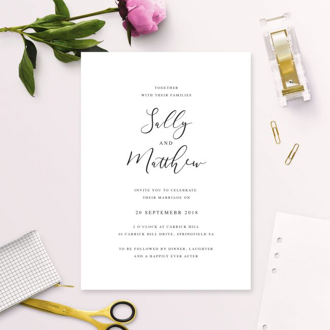Elegant Calligraphy Modern Wedding Invitations Australia Adelaide Sydney Perth Melbourne Canberra United Kingdom London UK Sail and Swan