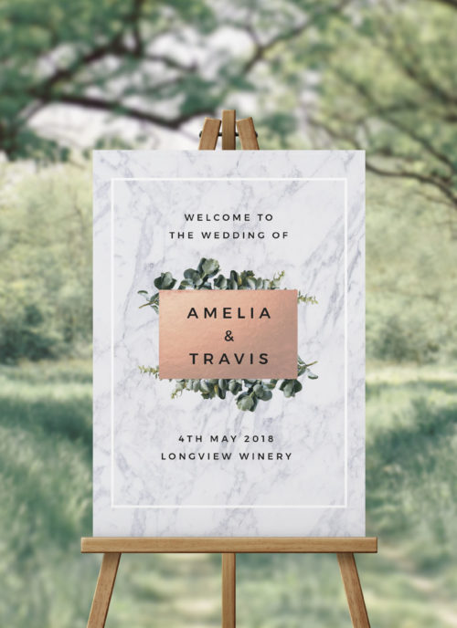 Marble Botanical Greenery Wedding Welcome Sign Chic Luxe Contemporary Welcome Sign Australia Sydney Melbourne Perth Adelaide Brisbane Canberra Sail and Swan