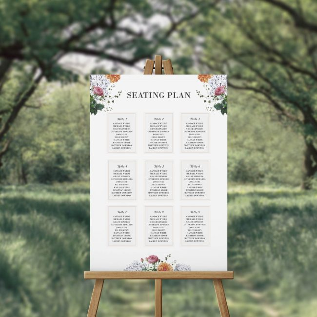 Vintage Floral Botanical Dahlia Clover Seating Chart Australia Adelaide Sydney Brisbane Melbourne Canberra Perth Outdoor garden wedding seating plan sign