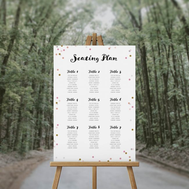 Pink and Gold Confetti Seating Chart Pretty Elegant Beautiful Seating Plan Pink Blush Peach Australia Sydney Adelaide Melbourne Perth Brisbane