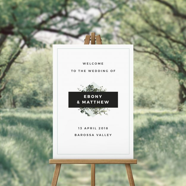 Bold Modern Botanical Wedding Welcome Sign Australia Sydney Perth Melbourne Brisbane Adelaide Sail and Swan