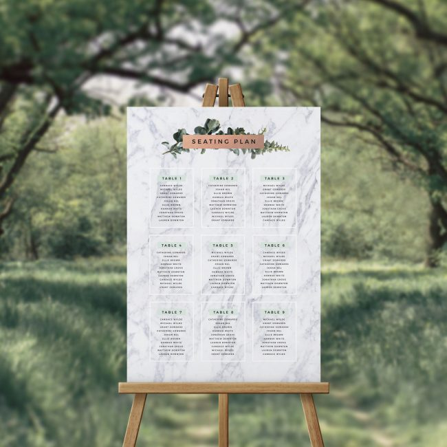 Marble and Greenery Seating Chart Australia Sydney Perth Melbourne Adelaide Canberra brisbane Foliage Greenery Leaves Wedding Seating Plan Sign