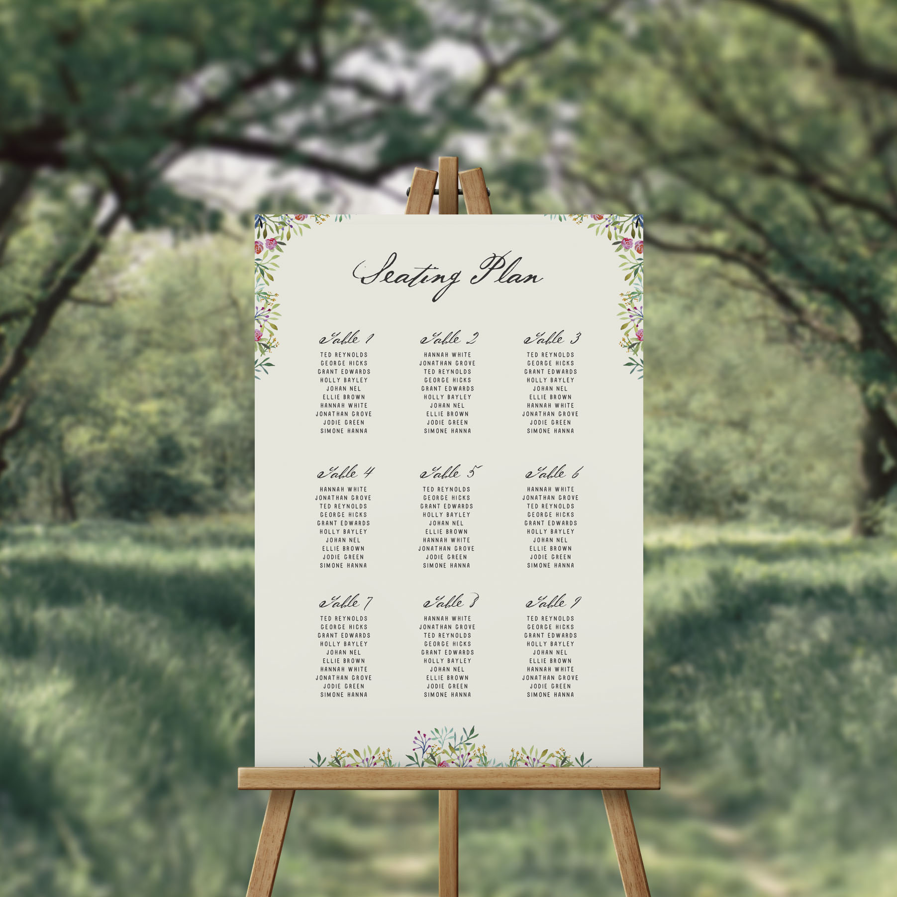 Forest Foliage Greenery Seating Chart Australia Seating Plan Sydney Perth melbourne Canberra brisbane Adelaide