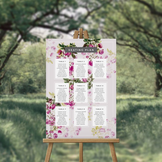 Garden Botanicals and Florals Wedding Seating Plan Australia Sydney Perth melbourne Adelaide Canberra Brisbane Seating Chart garden wedding signage