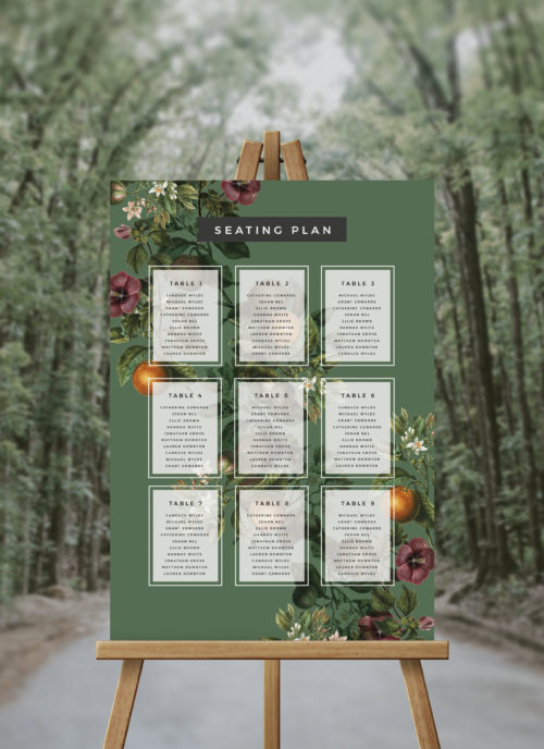 Lush Green Garden Tropical Seating Plan Australia Sydney Melbourne Perth Adelaide brisbane Canberra Wedding Seating Chart Tropical Garden Greenery Wedding Sign