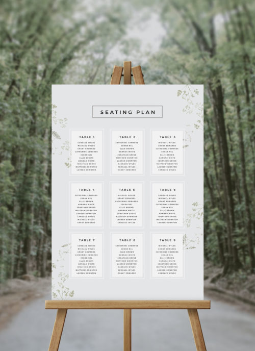 Pale Greenery Foliage Seating Chart Australia Sydney melbourne perth adelaide brisbane canberra wedding seating plan green grey pale garden wedding sign