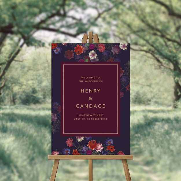 Elegant Burgundy Floral Wedding Welcome Sign Australia Perth Melbourne Sydney Adelaide Brisbane Canberra Sophisticated Modern Stylish Gold Welcome Sign