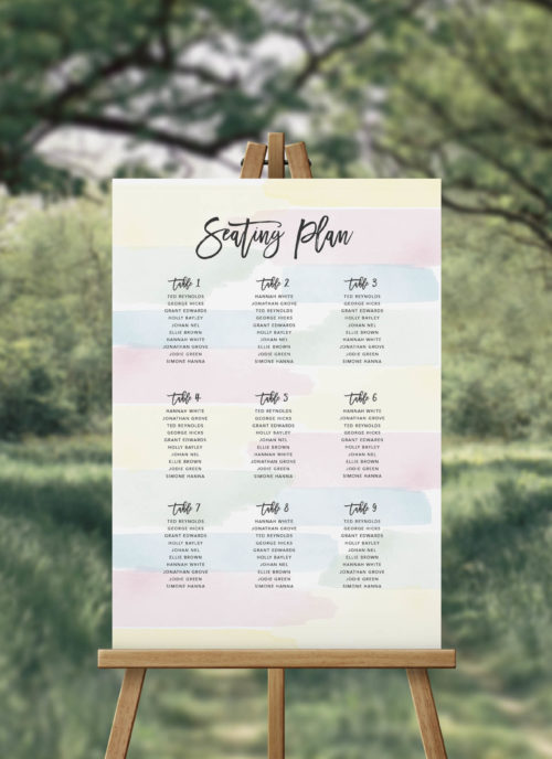 Pastel Wedding Seating Plan Pink Green Blue and Yellow Australia Perth Melbourne Adelaide Sydney Brisbane Canberra