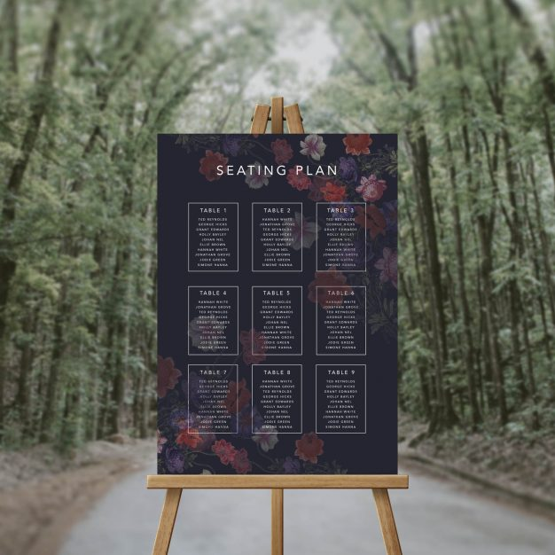 Moody Dark Floral Seating Chart Australia Sydney Perth Melbourne Adelaide Brisbane Canberra Seating Plan Burgundy Flowers Florals Wedding Seating Sign