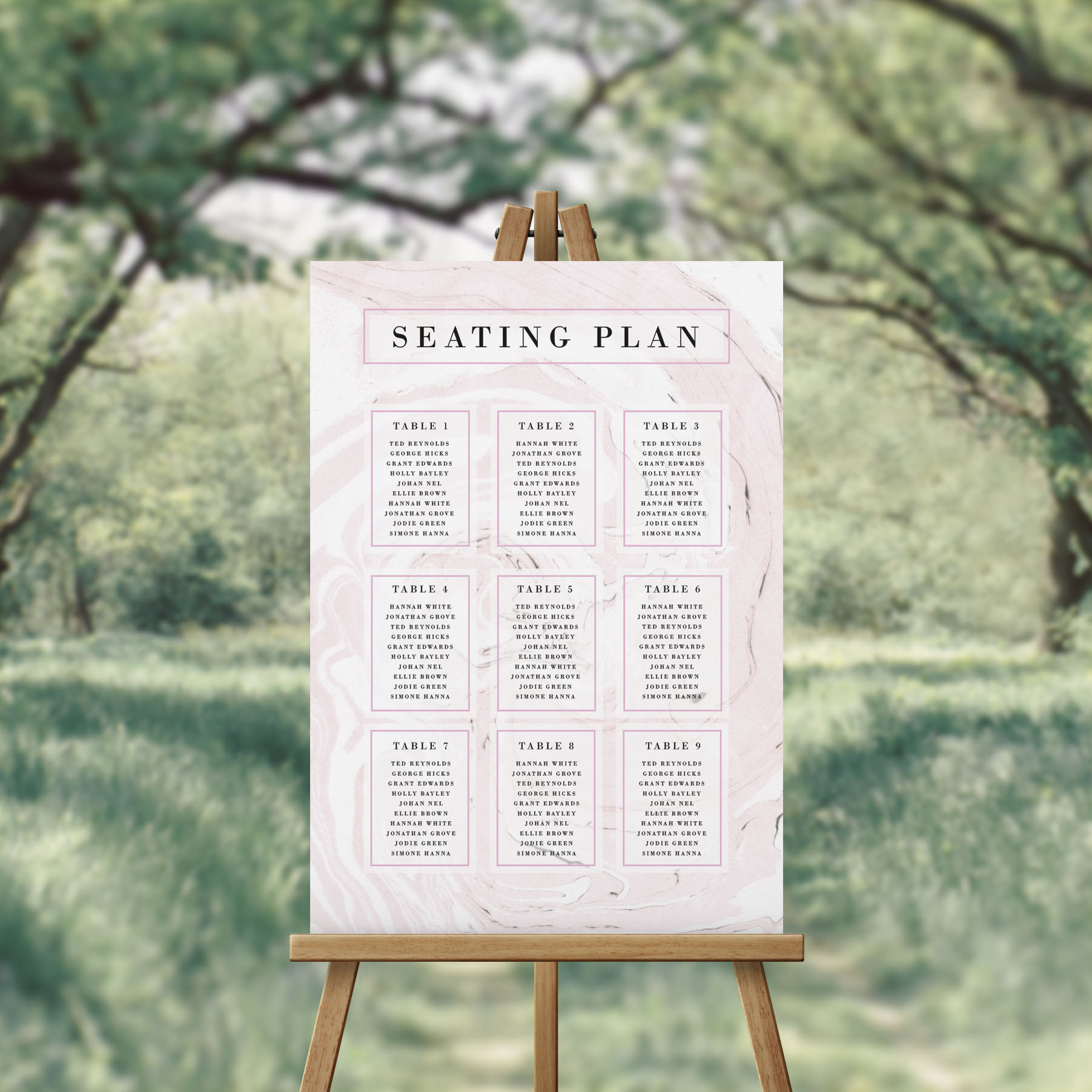 Modern Blush Pink Marbled Seating Chart Seating Plan Australia Sydney Melbourne Perth Adelaide Canberra Brisbane Wedding Seating Sign