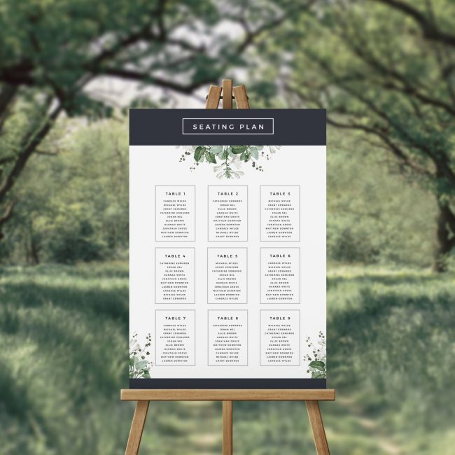 Modern Navy Green and White Botanical Seating Chart Australia Sydney Perth Melbourne Adelaide Canberra Brisbane Wedding Seating Plan Modern Garden Wedding Sign