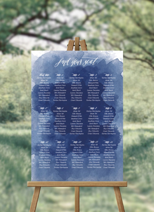 Navy Blue Watercolour Calligraphy Seating Chart Australia Melbourne Perth Sydney Adelaide Canberra brisbane beach Wedding Seating Plan