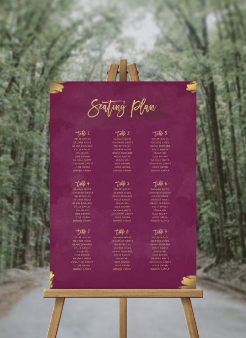 Burgundy and Gold Seating Chart Crimson Purple Wine Plum Wedding Seating Plan Australia Sydney Adelaide Perth Melbourne canberra brisbane