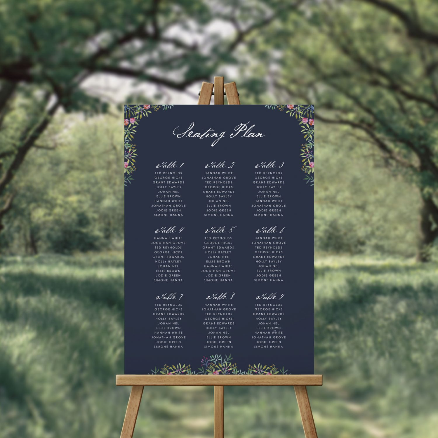 Navy Greenery And Floral Seating Chart Seating Plan