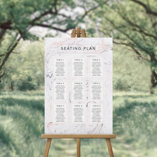 Modern Pink Grey Marbled Swirl Seating Plan Australia Adelaide Perth melbourne Sydney Brisbane Canberra Contemporary Clean Simple Wedding Seating Sign