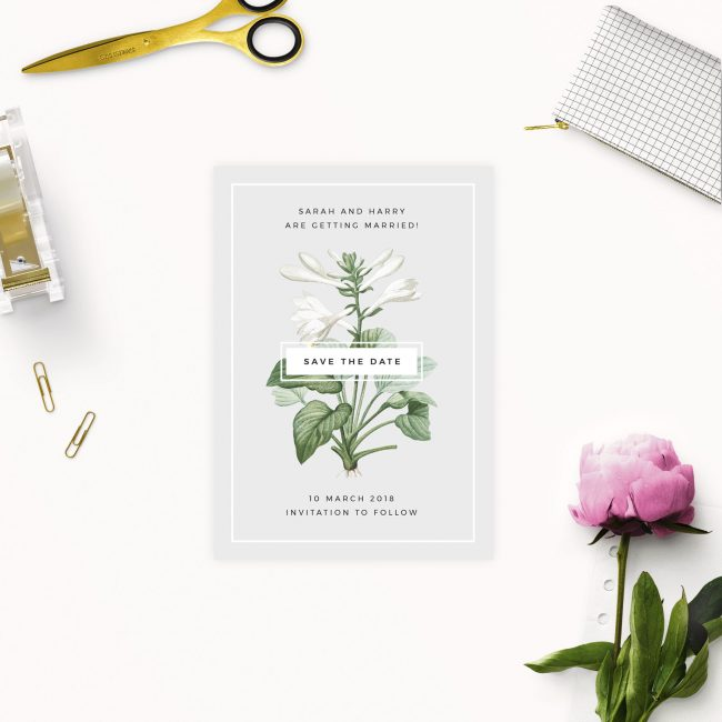 Elegant Botanical Save the Dates Australia Sydney Perth Melbourne brisbane Canberra Grey White Green Save the Dates Uk London United States New York Gorgeous Trendy Modern Contemporary Save the Date