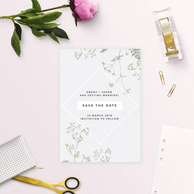 Pale Grey Modern Botanical Save the Dates Australia sydney perth melbourne adelaide brisbane canberra mdoern greenery leaves natural save the dates new york united states london uk