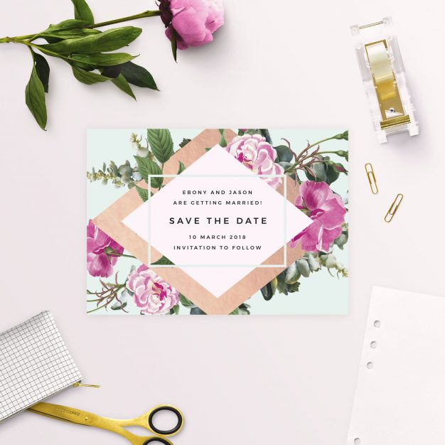 Rose Gold Floral Pink Green Save the Dates Australia Sydney perth melbourne adelaide brisbane canberra stunning blooms floral save the dates new york united states london uk