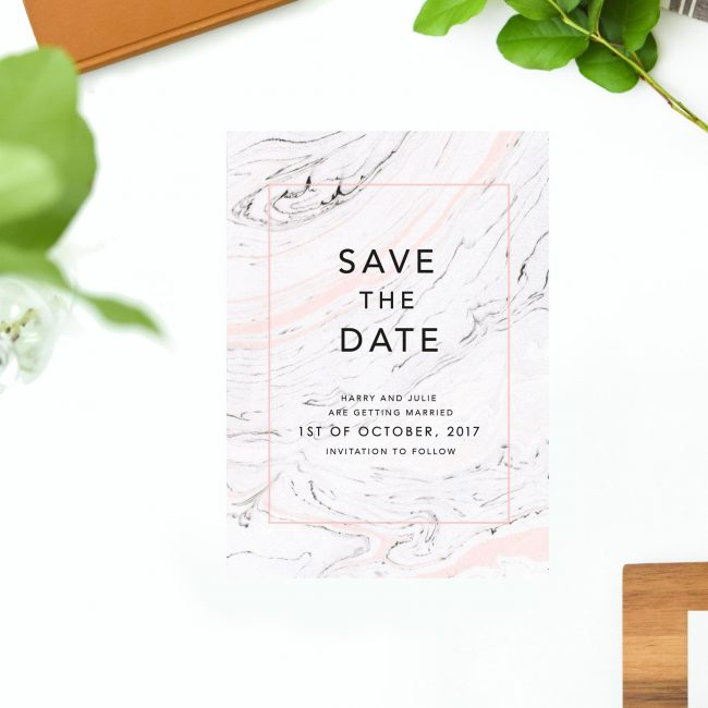 Pink and Grey Marble Save the Dates Gray Precious Stone Elegant Save the Dates Australia Adelaide Sydney Perth melbourne Canberra Brisbane New York United States Uk London