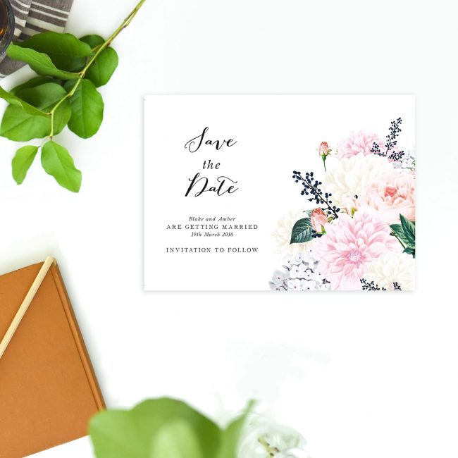Pastel Floral Save the Dates Dahlia and Berries Elegant Save the Dates Australia Sydney Perth Melbourne Canberra Brisbane Adelaide Stunning Save the Dates UK London United States New York