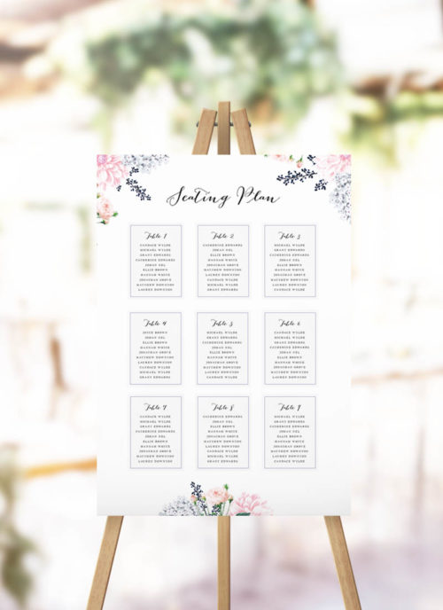 Elegant Pastel Floral Seating Plan