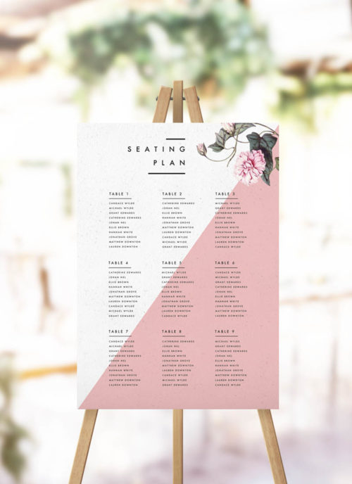 Contemporary Blush Pink Botanical Seating Plan Modern Botanical Seating Plan Geometric
