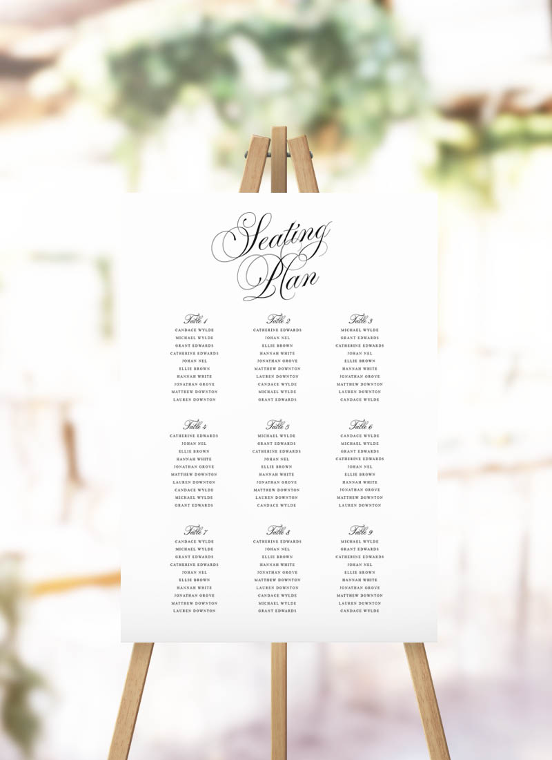 Elegant Script Calligraphy Seating Plan Classic Calligraphy Writing Seating Chart
