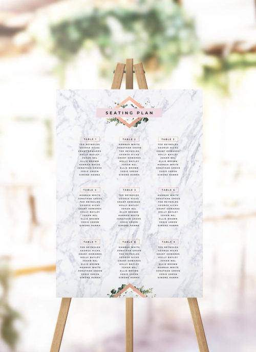 Modern Marble Botanical Seating Plan chic greenery luxe seating chart