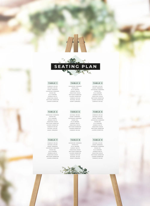 Bold Modern Botanical Seating Plan simple elegant greenery botanical leaves seating chart