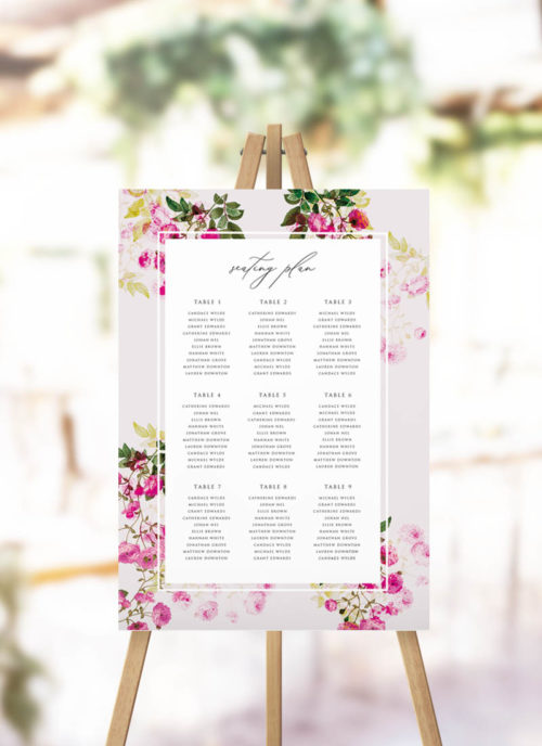 Pink Green Modern Botanical Seating Plan
