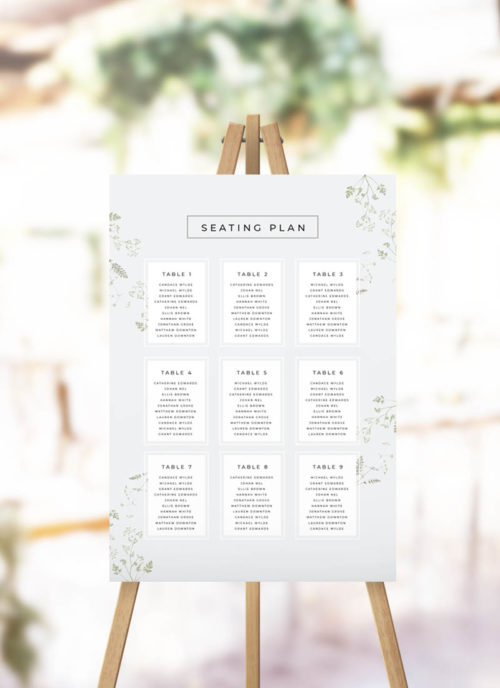 Pale Greenery Foliage Seating Chart - Modern Seating Plan