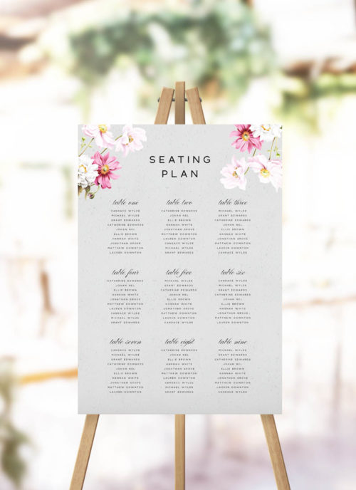 Elegant Grey Floral Seating Plan - Grey Modern Botanical Seating Chart