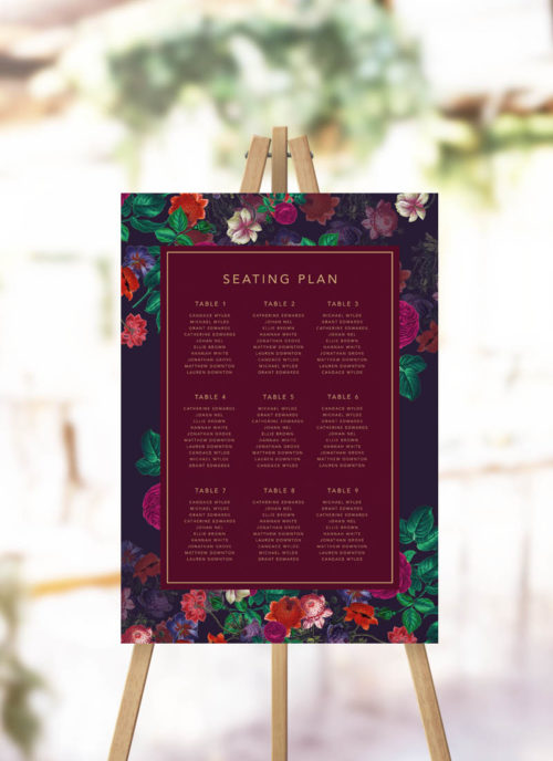 Elegant Burgundy Floral Seating Plan Navy Crimson Red Floral Flowers Burgundy Seating Chart
