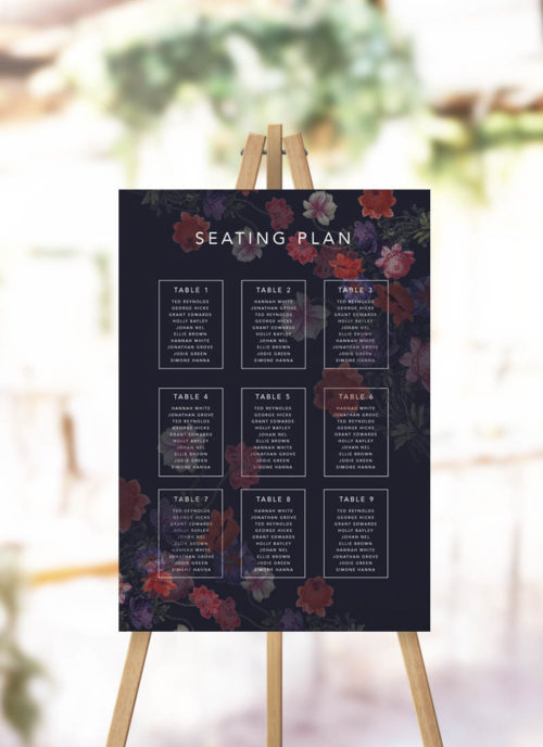 Moody Dark Floral Seating Chart Black Floral Wedding Seating Plan