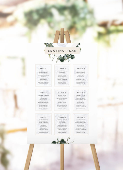 Marble Green Leaves Modern Botanical Seating Plan
