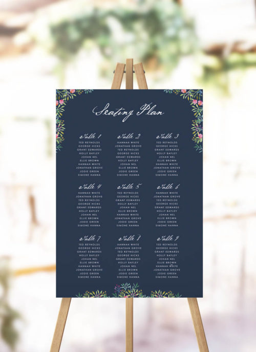Navy Floral Seating Chart Navy Blue Botanical Green Leaves Greenery Wedding Seating Plan