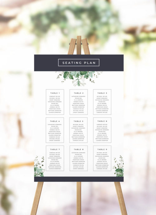Modern Navy Green White Botanical Seating Chart