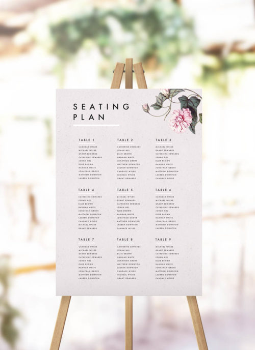 Modern Pink Grey Floral Seating Plan Modern Wedding Seating Chart Botanical Flower Vine Garden