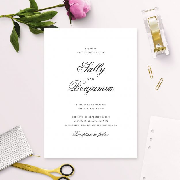 Classic Elegant Script Wedding Invitations Australia Sydney Perth Melbourne Adelaide Canberra White Wedding Invites