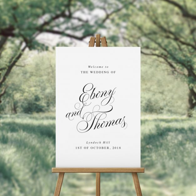 Elegant Script Calligraphy Wedding Welcome Sign Australia Sydney Melbourne Perth Adelaide Brisbane Canberra Stunning Simple Elegant Welcome Sign Sail and Swan