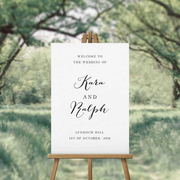 Elegant Hand Calligraphy Wedding Welcome Sign Australia Pretty Elegant Simple Script Wedding welcome sign Sydney Perth canberra Melbourne Adelaide Brisbane Sail and Swan