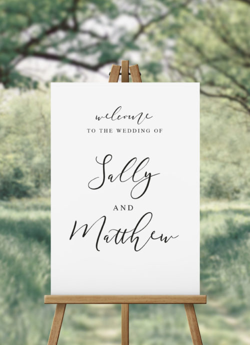 Flowing Script Calligraphy Wedding Welcome Sign Sydney Melbourne brisbane Perth Canberra Adelaide Black White Calligraphy Sign Sail and Swan