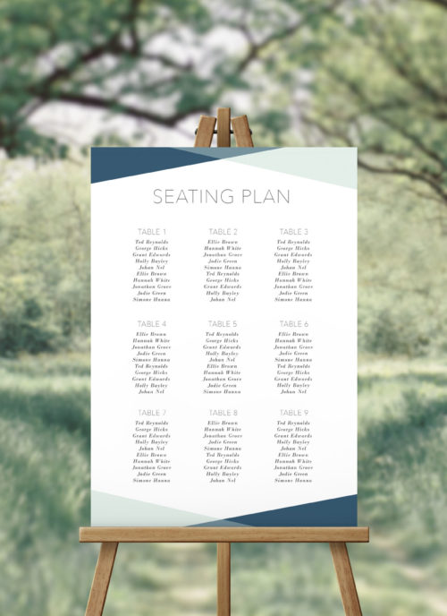 Contemporary Geometric Turquoise Seating Chart Australia Adelaide Perth Melbourne Sydney Canberra brisbane Ocean Beach Wedding Seating Plan Sign