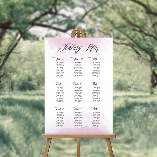 Elegant Calligraphy and Watercolour Seating Plan Australia Sydney Perth Melbourne Adelaide Canberra Seating Wedding Chart